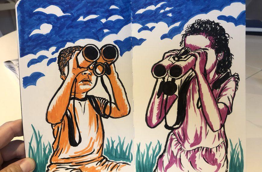 Illustration of kids looking through binoculars